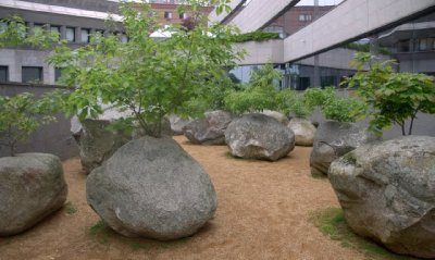 stones. andy goldworthy installation, jewish heritage museum