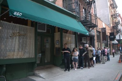 lining up for torrisi reservation.  steps from our front door!  mmm, the food was really good!!