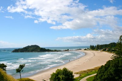 looking down at the beach from Mt Maunganui