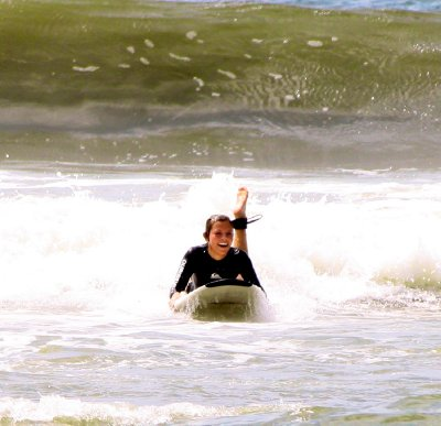 Morgan had a great time riding the waves