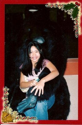 very big black gorilla stuff toy hugged me!!! =)