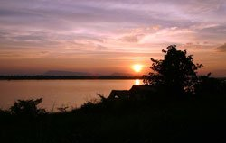 Sunset of The Mekong in Pakse, Southern Laos