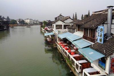 Canal side restaurants.