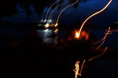 Taking night photos from a moving canoe is not easy.