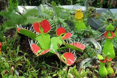 Venus flytraps made from Lego bricks.