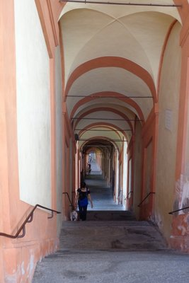 The portico from the Santuario Madonna di San Luca down to the city.