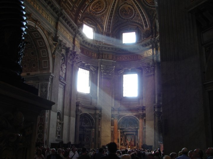 Daylight streaming into St Peter's.