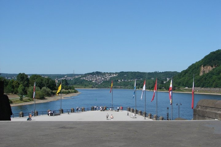 The confluence of the Mosel and Rhine in Koblenz.