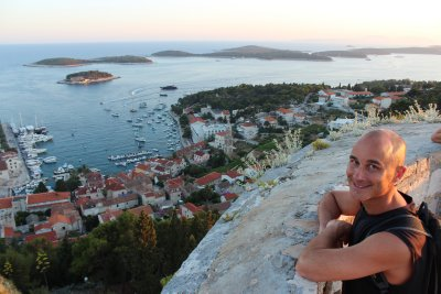 Andrew overlooking Hvar and the harbour