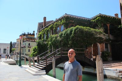 Andrew at one of over 350 bridges in Venice