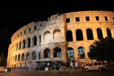 Pula's Amphitheater from the 1st-century, lit up at night
