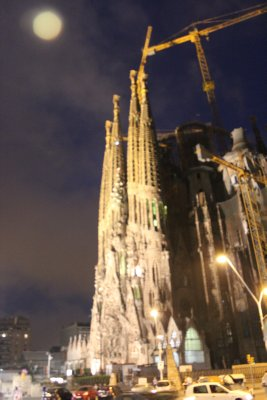 Sagrada Familia at night, all lit up