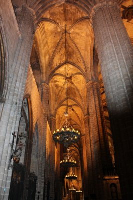 The interior of the Gothic cathedral