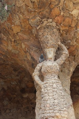 One of the columns supporting the terrace in Park Guell had this woman built within it