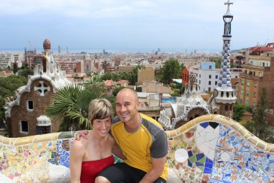 Ana and Andrew on the terrace in Park Guell