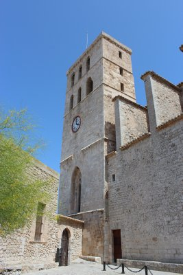 The highest point in old town Evissa is the church