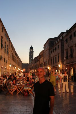 Andrew walking along the Stradun in the evening