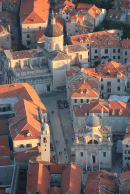 The main streed in old town, Stradun, seen from the mountain
