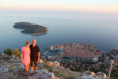 Ana and Andrew looking down at Dubrovnik below