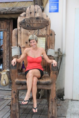 Ana in the Marco Polo chair... did you know he was born in Korčula? A Croatian explorer, even though Italy claims him as one of theirs.