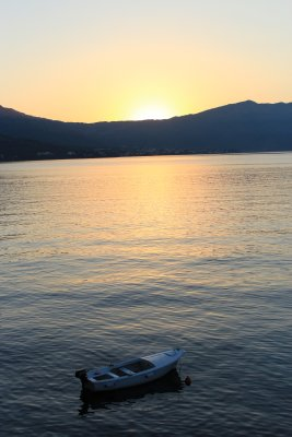 The sun rising over Korčula