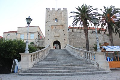 Grand staircase leading into Korčula's old town