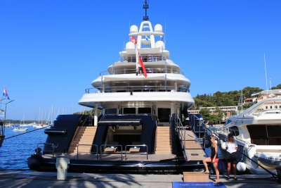 Ana boarding her new 70 meter yacht :D