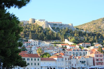 Hvar's old town high atop the hill