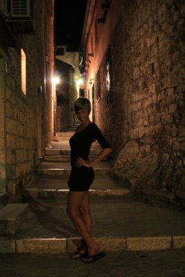 Ana ready for a night stroll in Hvar