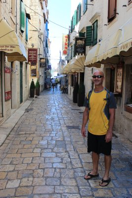 Andrew walking the cobble stone streets of Trogir