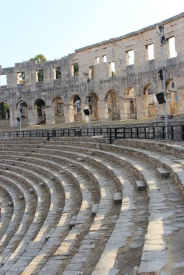 The original spectators' seats, still used today for concerts and festivals.  During our time in Pula, the annual film festival was held in the Arena, and movies were screened here.