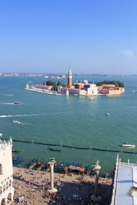 From the bell tower in Piazza San Marco, a view of the Church of San Giorgio Maggiore
