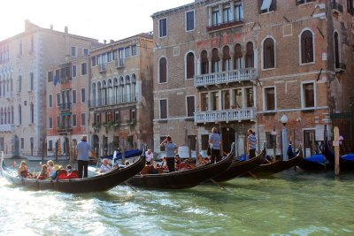 Gondoliers along the Canal Grande