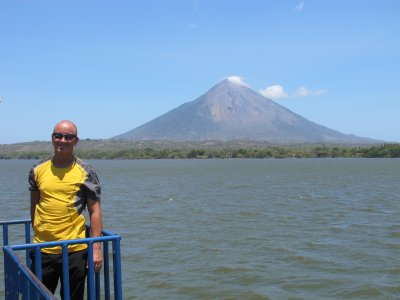 Andrew on the boat, arriving to Ometepe