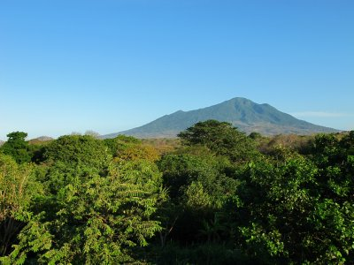 A lush forest covers the Volcán Maderas