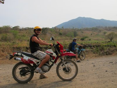 Andrew and Jacob riding around Ometepe