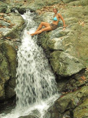 Ana at the smaller waterfall