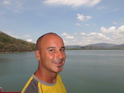 Andrew on the ferry, heading for Punteranus