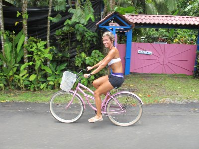 Heading out for our ride on my pink bike