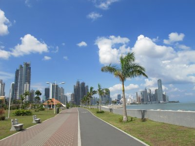 Walking along the water from old town to the financial district in downtown Panama City