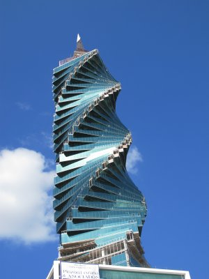 The impressive spiral sky scraper -each floor sits slightly askew from the one below to create this effect