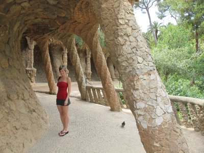 Amazing columns designed by Gaudi in Park Guell