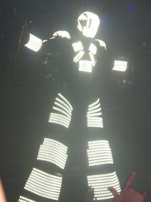 The large 12 ft Robot that came up from the floor at Space for the Carl Cox show, and then later burst into sparks and flames
