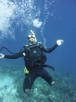 Andrew blowing rings of air underwater