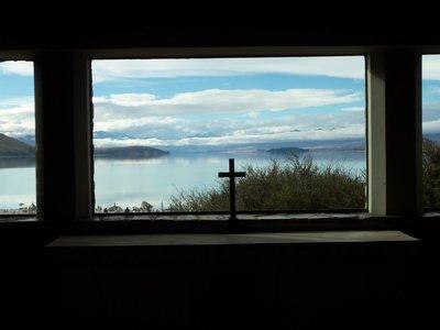 Lake tekapo through church