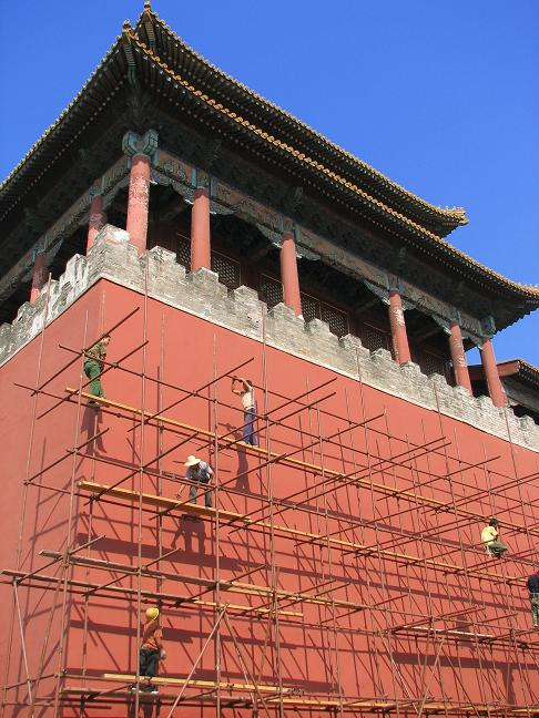 Construction work in Forbidden City - Beijing