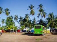 Green bus at Playa Colorada