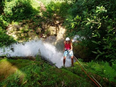 Abseiling in waterfall - Mochima National Park