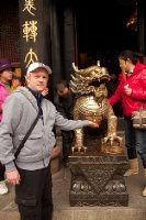 Touching a dragon at Washu Temple