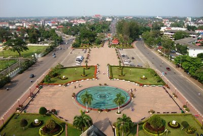 Vientiane view on top of Pathuxay Monument